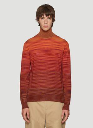 Missoni Stripe Knitted Turtleneck Sweater in Orange