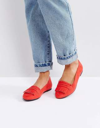 London Rebel Fringe Flat Slipper with Buckle