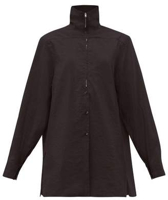 Lemaire Zipped Silk Blend Shirt - Womens - Black