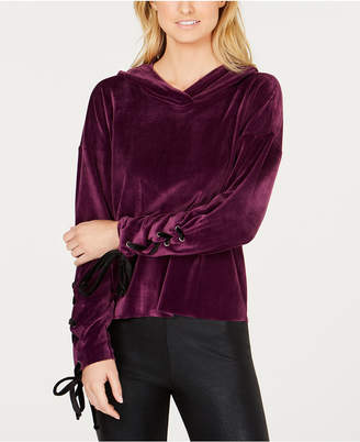 Material Girl Active Juniors' Lace-Up Velour Hoodie