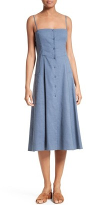 Women's Theory Kayleigh Crunch Wash Chambray Midi Dress $335 thestylecure.com