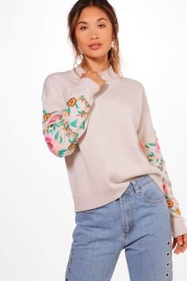 boohoo Embroidered Sleeve Jumper