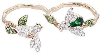 Bumble Bee Anyallerie 'Bumble Bee' diamond tsavorite 18k white gold two finger ring