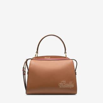 Bally Amoeba Small Brown, Women's plain bovine leather top handle bag in tan