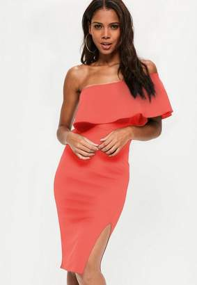 Missguided Coral One Shoulder Frill Split Midi Dress