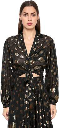 Temperley London Silk Blend Lamé Cropped Top