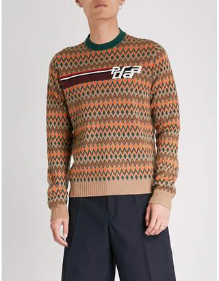 Prada Chevron-pattern wool and cashmere-blend jumper
