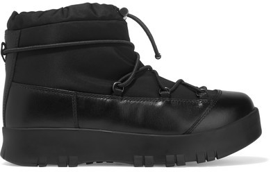 Prada - Leather-trimmed Canvas And Rubber Boots - Black