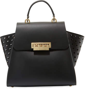 Zac Posen Eartha Side-Perforated Leather Crossbody Bag, Black