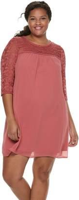 f97fbe78624 Juniors  Plus Size Lily Rose Lace Shift Dress