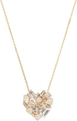Suzanne Kalan Trillion Diamond and Topaz Heart Necklace