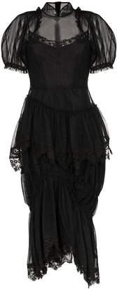 Simone Rocha sheer mesh puffed sleeve midi dress