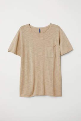 H&M Fine-knit Cotton T-shirt - Beige
