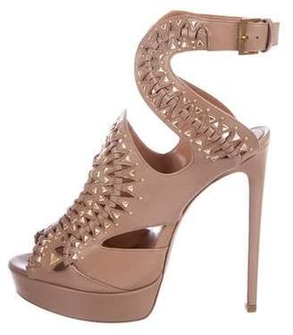 Alaia Leather Cutout Sandals