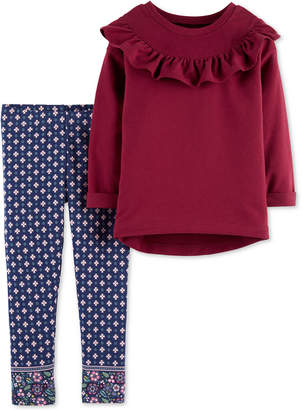 Carter's Toddler Girls 2-Pc. Ruffle Top & Jacquard Leggings Set