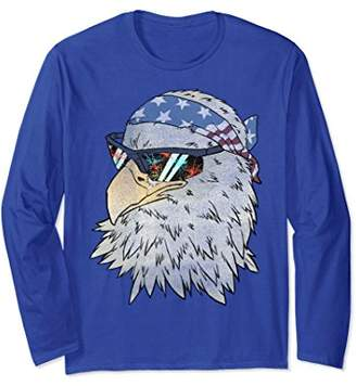 Biker Eagle Flag Bandana Firework Shades Long Sleeve Tee