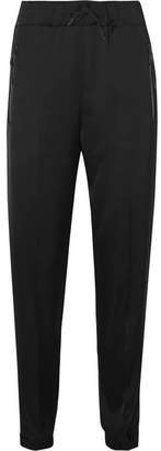 Prada Leather-trimmed Satin Track Pants - Black