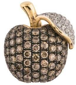 14K Diamond Apple Pendant