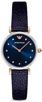 Emporio Armani Stingray Embossed Leather Strap Watch, 32mm