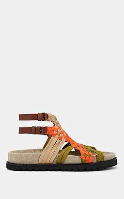 Alberta Ferretti Women's Braided Ribbon Sandals - Orange
