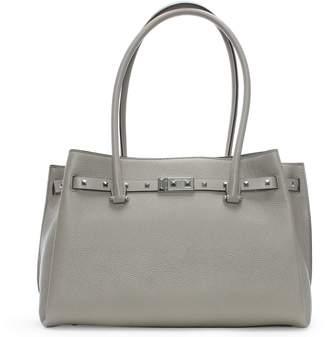 Michael Kors Large Addison Pebbled Pearl Grey Leather Tote Bag