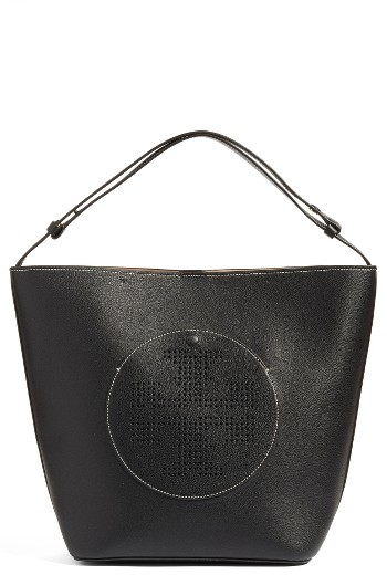 Tory BurchTory Burch Perforated Logo Leather Hobo - Black