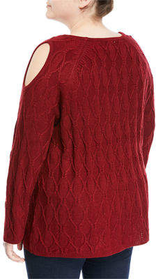 Neiman Marcus Plus Cold-Shoulder Pullover Sweater, Plus Size