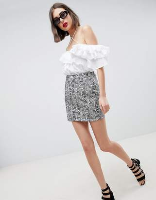 Asos DESIGN denim original skirt in snake print