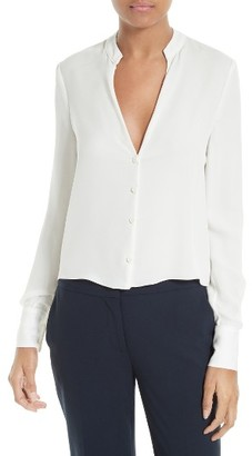 Women's Diane Von Furstenberg Stretch Silk V-Neck Blouse $248 thestylecure.com