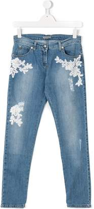 Ermanno Scervino floral embroidered jeans