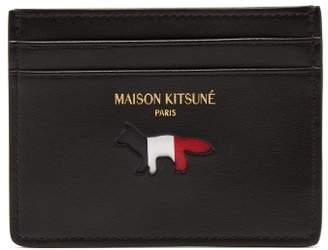 MAISON KITSUNÉ Tri Colour Leather Cardholder - Mens - Black