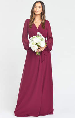 Show Me Your Mumu Lady Long Sleeve Wrap Dress ~ Merlot Chiffon