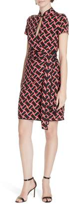 Diane von Furstenberg Jovie Basketweave Print Silk Jersey Dress