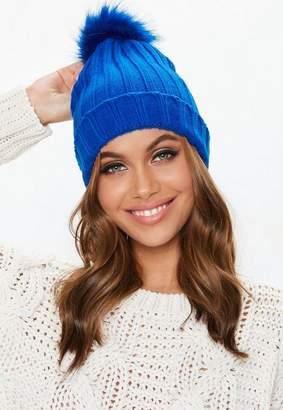 Missguided Blue Faux Fur Pom Pom Beanie, Blue
