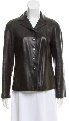 Paule Ka Leather Button Up Jacket