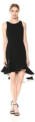 Halston Women's Sleeveless Scoop Neck Dress With Flounce Skirt