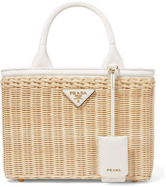 058bf28207bd Prada Giardiniera Canvas And Leather-trimmed Wicker Tote - White
