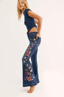 Free People Driftwood Farrah Embroidered Flare Jeans by Denim