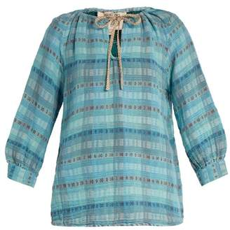 Ace&Jig Rosa Checked Cotton Blend Top - Womens - Light Blue