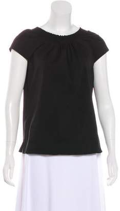 Prada Cap Sleeve Pleated Top