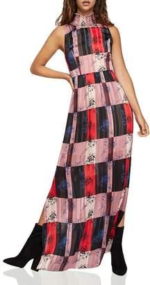 BCBGeneration Check Floral Maxi Dress