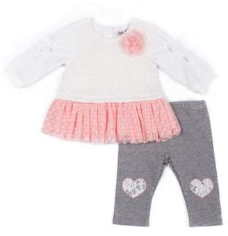 Little Lass Lace Tunic Dress & Leggings, 2-Piece Outfit Set (Baby Girls)