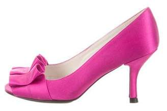 Stuart Weitzman Satin Peep-Toe Pumps