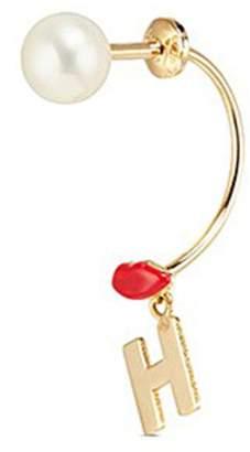 Delfina Delettrez 'ABC Micro Lips Piercing' freshwater pearl 18k yellow gold single earring - H