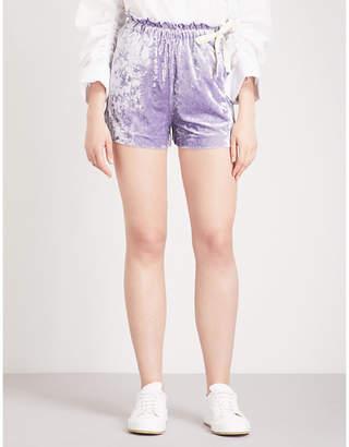Mo&Co. Crushed-velvet shorts