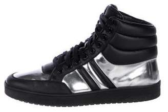 Gucci Metallic-Trimmed Leather Sneakers