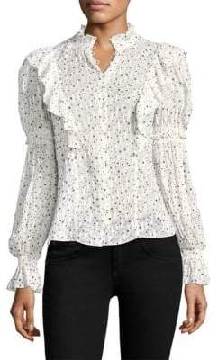 Rebecca Taylor Long Sleeve Ruffle Star Top