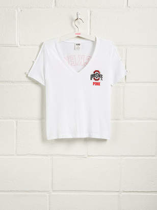 PINK The Ohio State University Bling Perfect Strappy Sleeve V-Neck Tee
