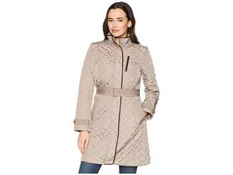 Cole Haan Belted Signature Quilt Zip Front Coat with Trapunto Stitching Details