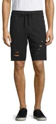 Distressed Cotton Drawstring Shorts